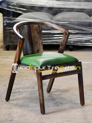 Indian Rosewood Genuine Leather Walnut Finish Restaurant Chair