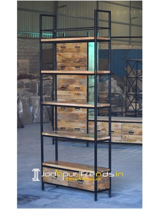 Industrial Mango Wood Iron Display Cabinet