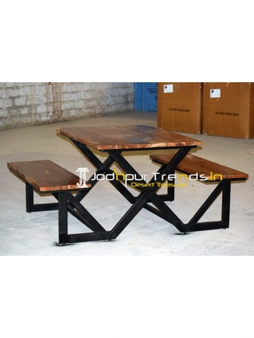 Industrial Picnic Theme Base Table Bench Set