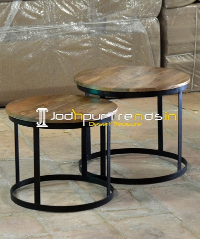 Industrial Set of Two Center Table Set