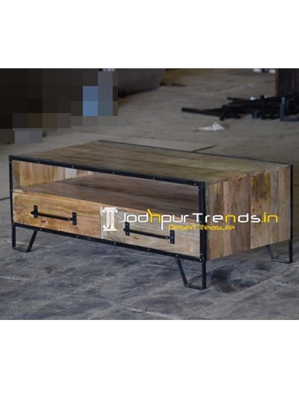 Industrial Two Drawer Open Shelves Center Table