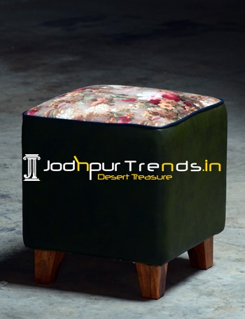 Jodhpur Pouf Seating with Wooden Legs