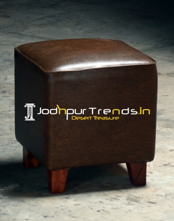 Leatherette Wooden Leg Pouffe Seat Stool
