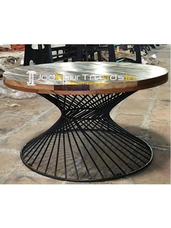 MS Rod Design Single Base Reclaimed Wood Center Table