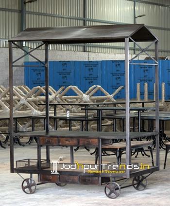 Metallic Finish Industrial Trolley Banquet Display Rack