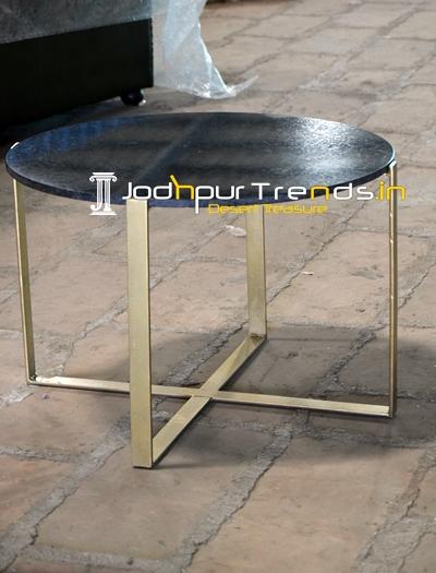 Metallic Finished Granite Top Stone Coffee Table