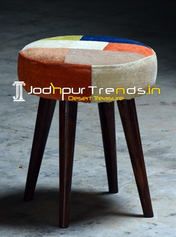 Multi Fabric Pouf Stool with Wood Legs
