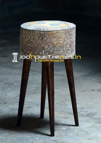Pouf Design Wooden Legs Round Bar Stool