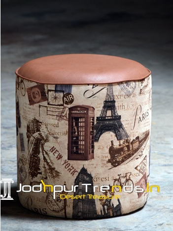 Printed Fabric Leather Top Round Indoor Pouffe Stool