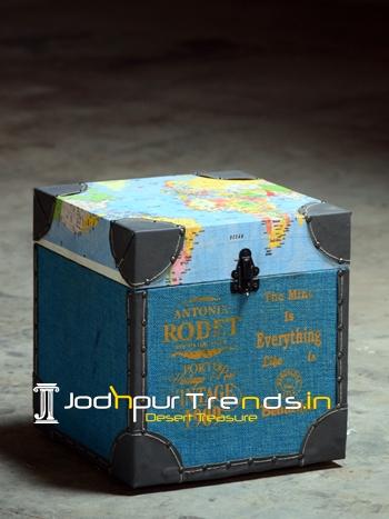 Printed World Map Design Sitting Storage Box