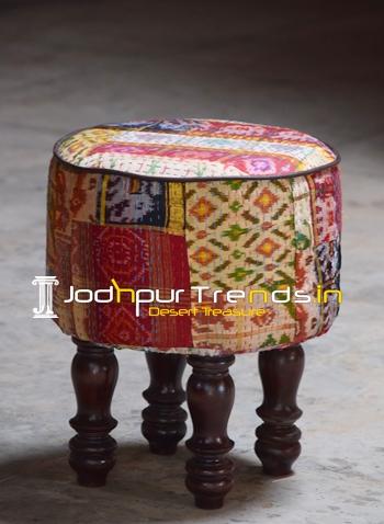 Rajasthani Gudri Fabric Pouf Ottoman from India