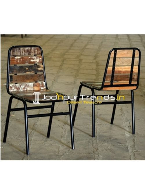 Reclaimed Wood Iron Old Tent Theme Stackable Industrial Chair