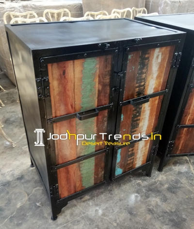 Reclaimed Wood Metal Base Cabinet Almirah