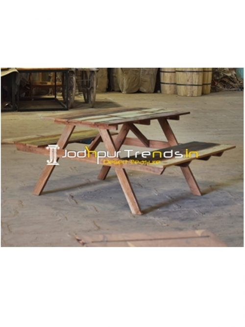 Reclaimed Wood Picnic Garden Outdoor Dining Table