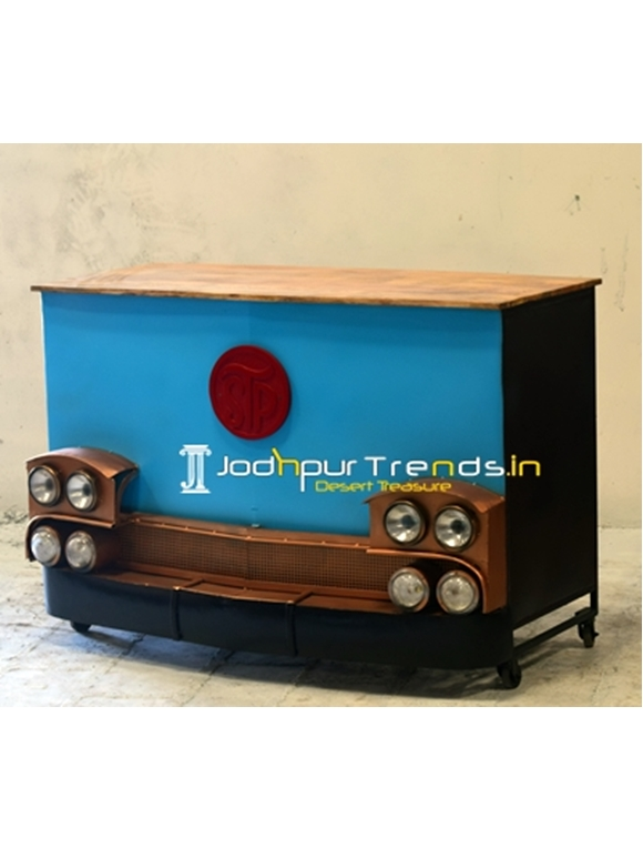 Recycled Metal Painted Design Automotive Bar Cabinet