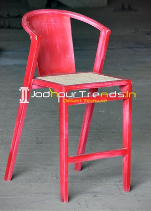 Red Distress Natural Cane Solid Wood Brewery Bar Chair