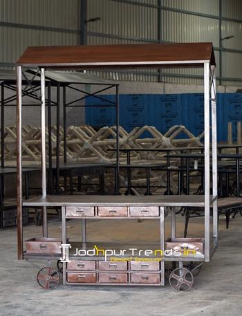 Rustic Industrial Trolley Banquet Display Rack