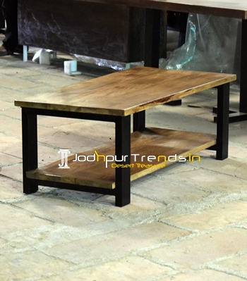 Simple MS Pipe Design Solid Wood Center Table