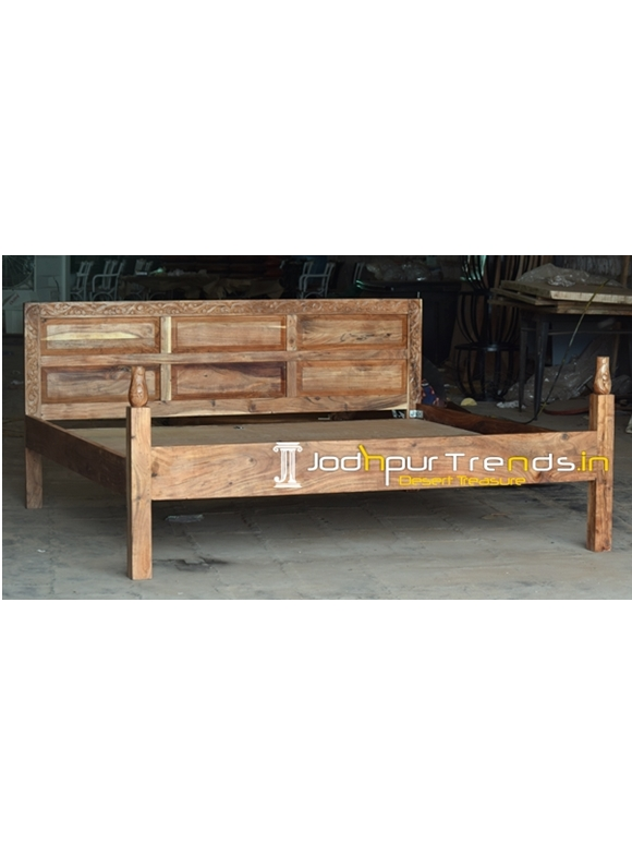 Solid Acacia Wood Carved Head Frame Folding Bed