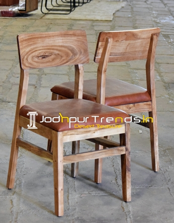 Solid Acacia Wood Pure Leather Seating Chair