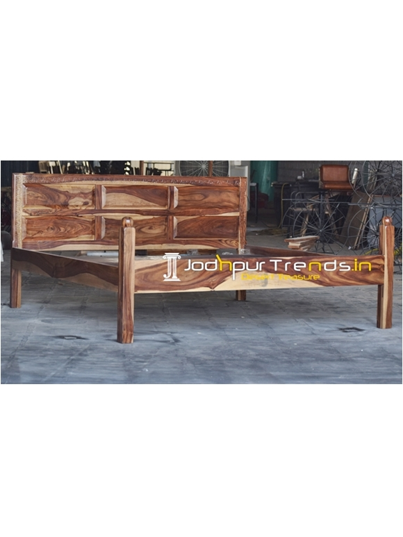 Solid Carved Wood Indian Sheesham Wood Folding Bed