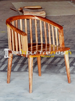 Solid Indian Acacia Wood Round Back Dining Chair