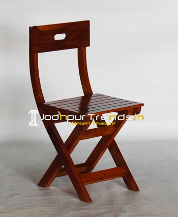 Solid Indian Wood Folding Camp Tent Chair
