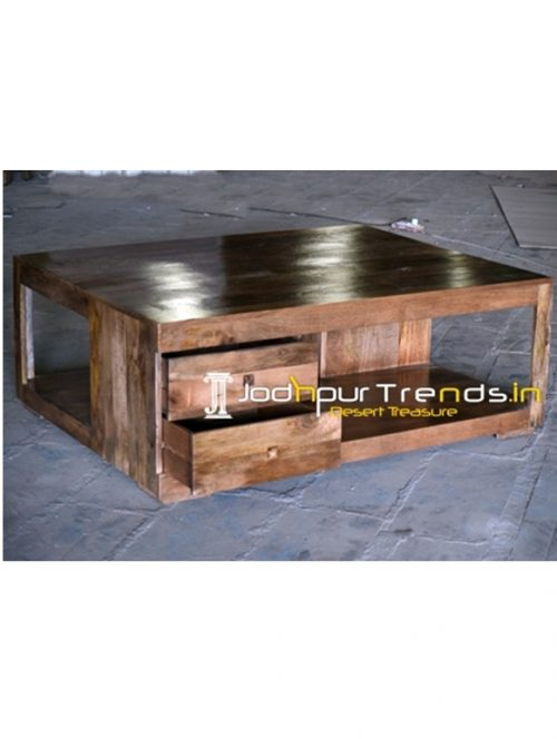 Solid Mango Wood Four Drawer Center Table