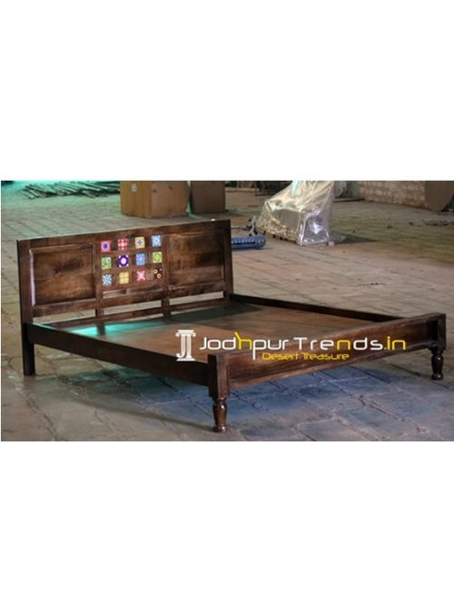 Solid Mango Wood Tile Fitted Bedroom Bed (2)