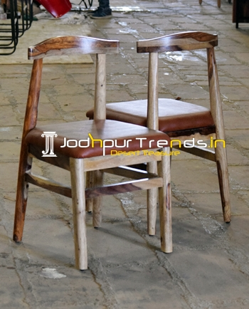 Solid Sheesham Wood Leather Seating Dining Chair
