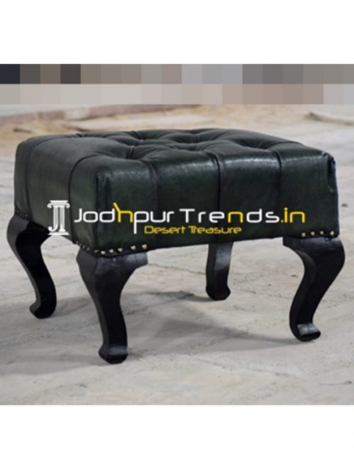 Tufted Leather Carved Legs Indian Footstool