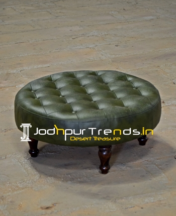 Tufted Leather Round Shape Bajot Heighted Foot Stool