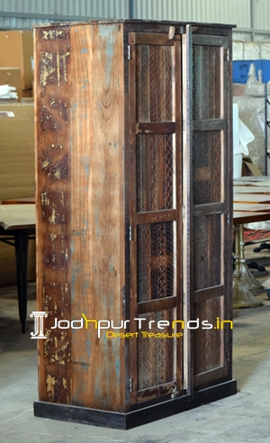 Two Door Carved Panel Recycled Wood Resort Wardrobe