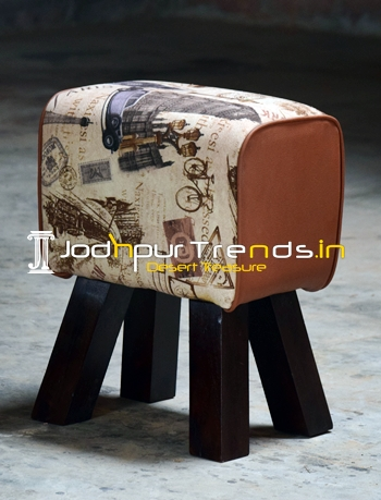 Vintage Printed Fabric Leather Wood Stand Pouf Stool
