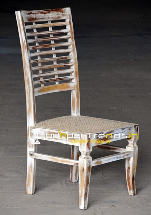 White Distress Natural Cane Indian Wooden Chair