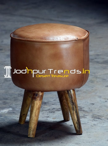 Wooden Legs Leather Seat Indian Pouf for Sitting