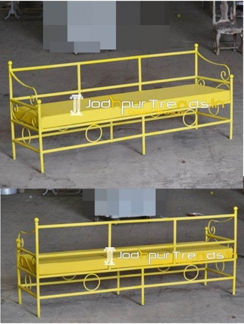 Yellow Coated Leatherette Seating Outdoor Long Bench