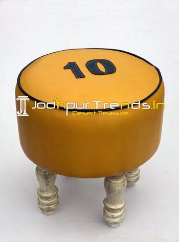 Distress Round Leatheritte Unique Pouffee Design