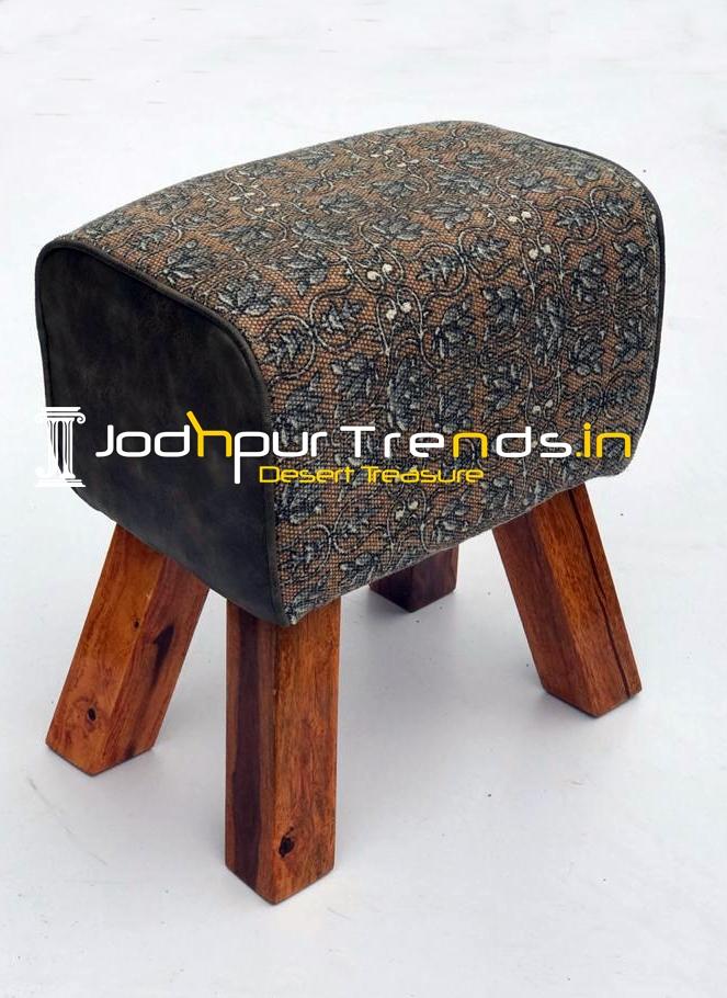 Fabric Leatheritte Combo Gym Pouffee Stool