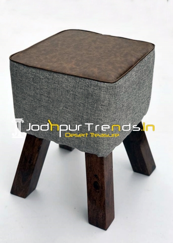 Fabric Leatheritte Combo Square Pouffee Stool