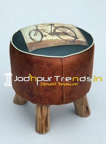 Jungle Wood Vintage Printed Round Pouffe