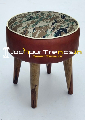 Printed Fabric Leatheritte Covering Solid Wood Legs Pouf