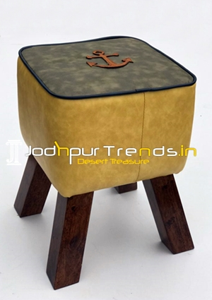 Solid Wooden Legs leatheritte Square Pouffee Stool