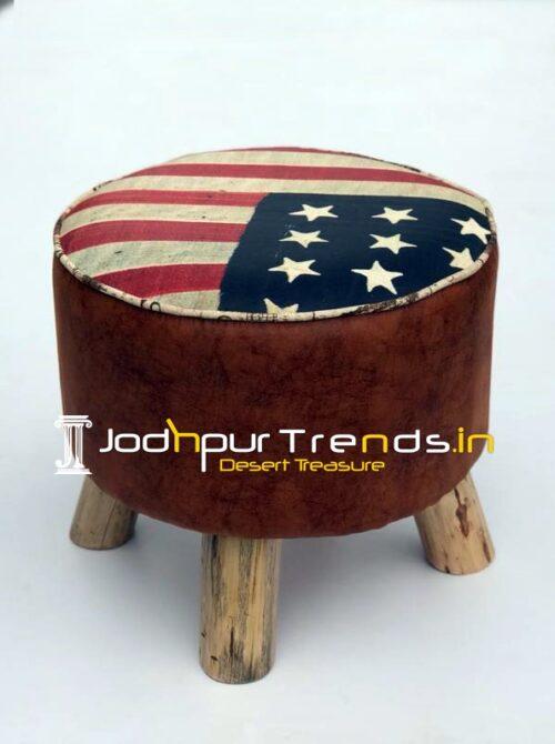 USA Flag Printed Raw Wood Legs Round Pouffee Stool